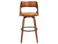 LivingStyles Oslo Commercial Grade Swivel Bar Stool, Tan / Walnut with Black Footrest