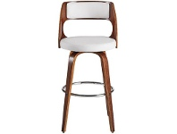 LivingStyles Oslo Commercial Grade Swivel Bar Stool, White / Walnut with Silver Footrest