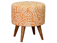 LivingStyles Felicia Fabric Upholstered Mahogany Timber Round Stool, Orange