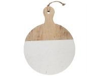 LivingStyles Macnevin Small Solid Mango Wood Timber and Stone Round Serving Board with Handle - White/Natural