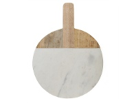 LivingStyles Macnevin Large Solid Mango Wood Timber and Stone Round Serving Board with Handle - White/Natural