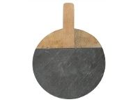 LivingStyles Macnevin Large Solid Mango Wood Timber and Stone Round Serving Board with Handle - Charcoal/Natural