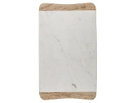 LivingStyles Macnevin Solid Mango Wood Timber and Stone Rectangular Serving Board - White/Natural
