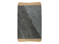LivingStyles Macnevin Solid Mango Wood Timber and Stone Rectangular Serving Board - Charcoal/Natural