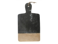 LivingStyles Macnevin Solid Mango Wood Timber and Stone Rectangular Wide Serving Board with Handle - Charcoal/Natural