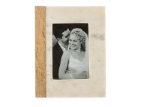 LivingStyles Macnevin Solid Mango Wood Timber and Stone 4x6 Inch Photo Frame - White/Natural