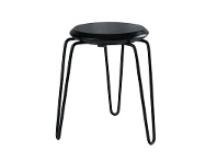 LivingStyles Otto Commercial Grade Steel Table Stool with Timber Seat - Black