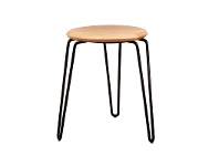 LivingStyles Otto Commercial Grade Steel Table Stool with Timber Seat, Natural