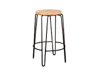 LivingStyles Otto Commercial Grade Steel Counter Stool with Timber Seat, Natural