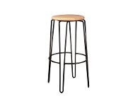LivingStyles Otto Commercial Grade Steel Bar Stool with Timber Seat, Natural