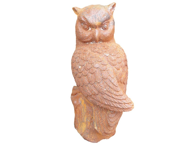 Night Watcher Gast Iron Owl Figurine Garden Decor