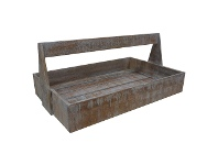 LivingStyles Guston Solid Mango Wood Timber Bakers Tray - White Washed Natural