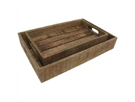LivingStyles Guston 2 Piece Mango Wood Tray Set, Rustic Natural