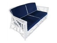 LivingStyles Colonade Rattan 2.5 Seater Sofa with Cushion, White