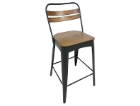 LivingStyles Javier Metal Counter Stool with Timber Seat