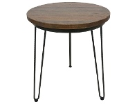 LivingStyles Mayo Timber and Metal Round Side Table