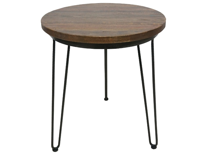 Mayo Timber and Metal Round Side Table