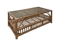 LivingStyles Colonade Glass Top Rattan Coffee Table, Honey