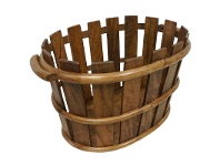LivingStyles Porter Solid Mango Wood Timber Basket, Teak