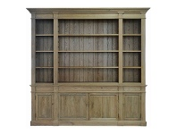 LivingStyles Dundee Oak Timber Bookcase, 240cm, Weathered Oak