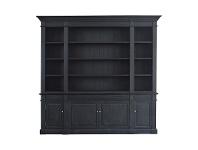 LivingStyles Dundee Oak Timber Bookcase, 240cm, Black Oak