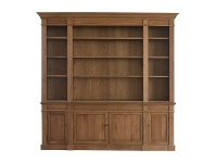 LivingStyles Dundee Oak Timber Bookcase, 240cm, Natural Oak