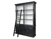 LivingStyles Ampuis 2-Bay Birch Timber Library Bookcase with Ladder, Black