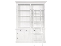 LivingStyles Ampuis 2-Bay Birch Timber Library Bookcase with Ladder, White