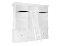 LivingStyles Ampuis 3-Bay Birch Timber Library Bookcase with Ladder, White