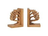 LivingStyles Tree of Life 2 Piece Acacia Timber Bookend Set