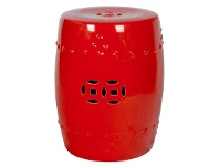 LivingStyles Moondiya Porcelain Drum Stool, Red