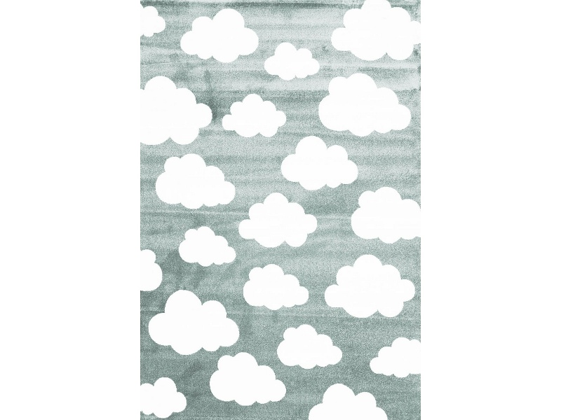 Piccolo Clouds Turkish Made Kids Rug, 120x170cm, Teal