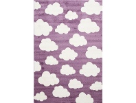 LivingStyles Piccolo Clouds Turkish Made Kids Rug, 120x170cm, Plum