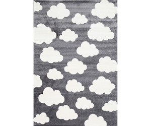 Piccolo Clouds Turkish Made Kids Rug, 120x170cm, Charcoal