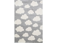 LivingStyles Piccolo Clouds Turkish Made Kids Rug, 120x170cm, Grey