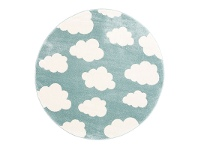 LivingStyles Piccolo Clouds Turkish Made Round Kids Rug, 133cm, Teal