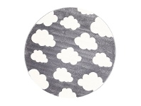 LivingStyles Piccolo Clouds Turkish Made Round Kids Rug, 133cm, Charcoal