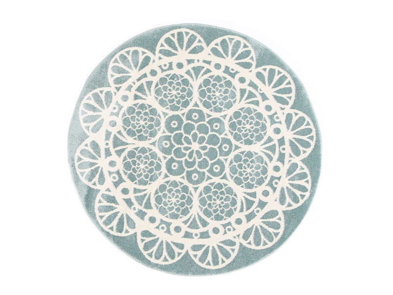 Piccolo Lace Turkish Made Round Kids Rug, 133cm, Teal