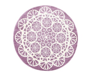 Piccolo Lace Turkish Made Round Kids Rug, 133cm, Plum