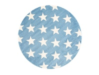 LivingStyles Piccolo Stars Turkish Made Round Kids Rug, 133cm, Blue