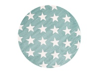 LivingStyles Piccolo Stars Turkish Made Round Kids Rug, 133cm, Teal