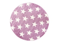 LivingStyles Piccolo Stars Turkish Made Round Kids Rug, 133cm, Plum
