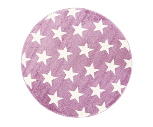 Piccolo Stars Turkish Made Round Kids Rug, 133cm, Plum