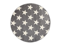 LivingStyles Piccolo Stars Turkish Made Round Kids Rug, 133cm, Charcoal