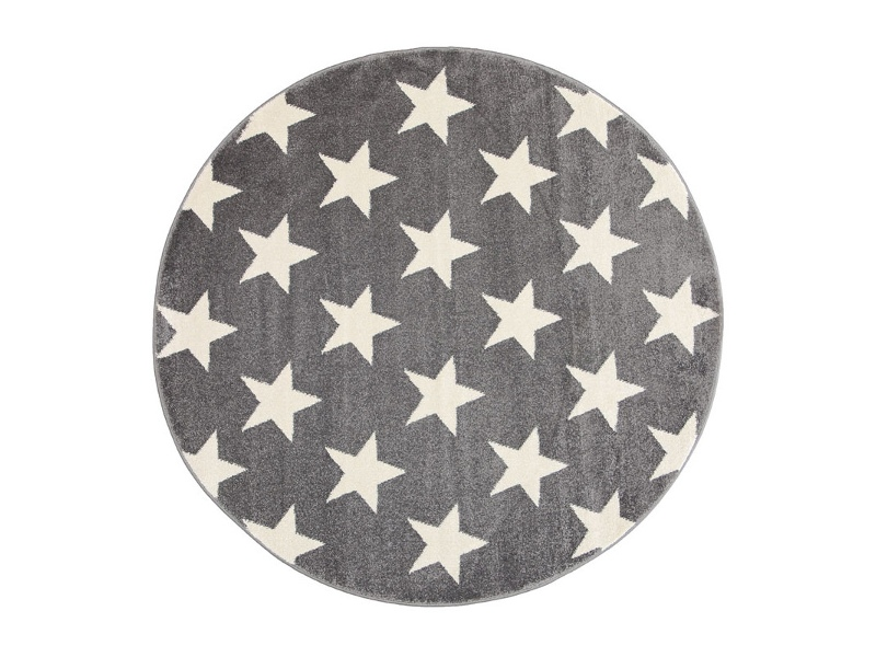 Piccolo Stars Turkish Made Round Kids Rug, 133cm, Charcoal