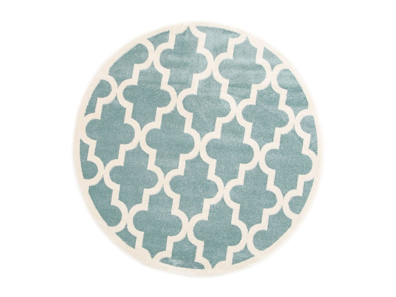 Piccolo Moroccan Turkish Made Round Kids Rug, 133cm, Teal