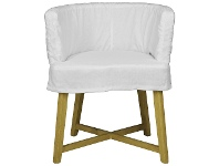 LivingStyles Paxton Linen Slipcovered Tub Armchair, White