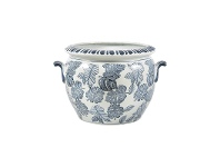 LivingStyles Monstera Blue & White Ceramic Flower Pot