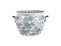 LivingStyles Paisley Blue & White Ceramic Flower Pot