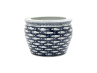 LivingStyles Vila Blue & White Ceramic Round Planter, Small
